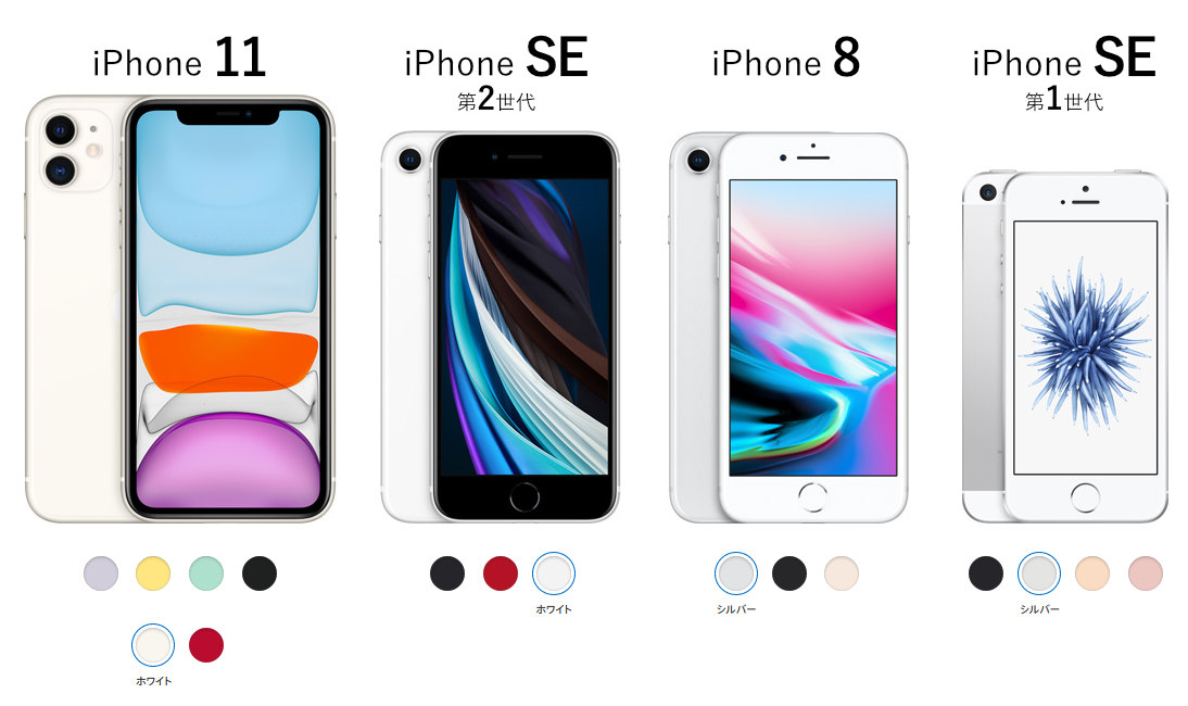 iPhone SE, 11, 8 の比較