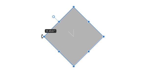 角丸長方形を45度回転できた
