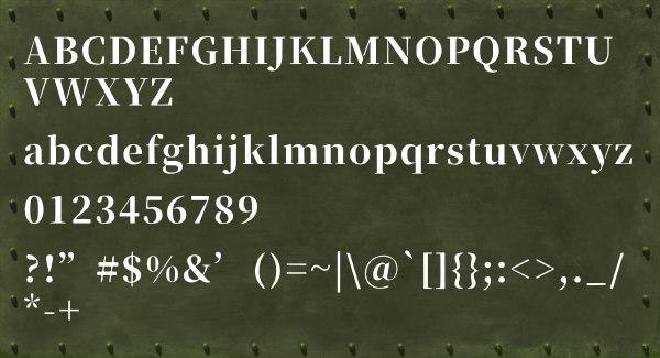 半角英数のフォントサンプル