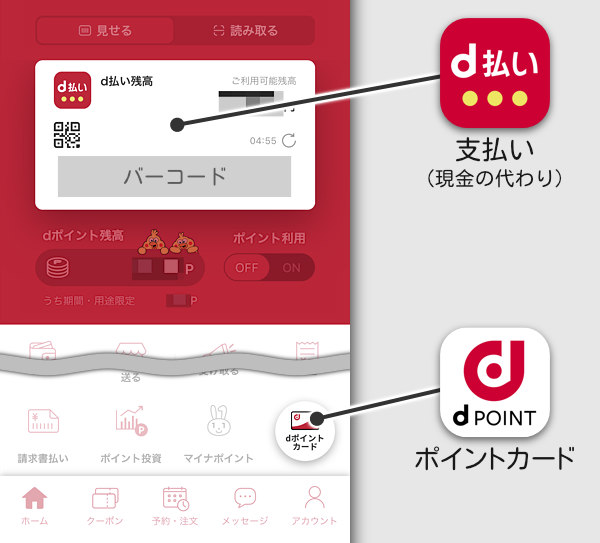 d払いとdポイントカードは機能が違う