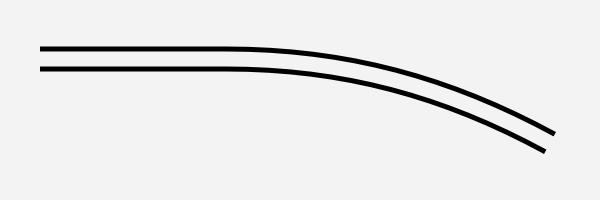 二重線のカーブ