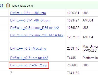 DivFix++ ダウンロード手順