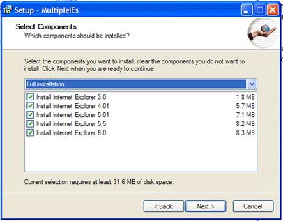 MultipleIEs表示画面セットアップ